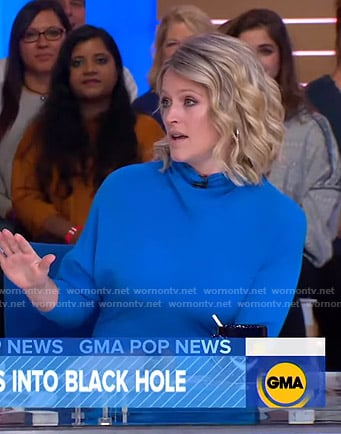 Sara's blue long sleeve mini dress on Good Morning America
