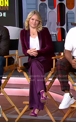 Sara's purple velvet blazer and pants on GMA Strahan Sara And Keke
