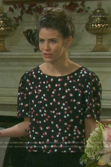 Sarah's black dotted top on Days of our Lives
