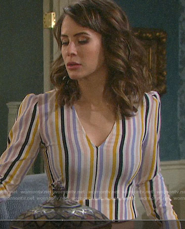 Sarah's striped v-neck crop top on Days of our Lives