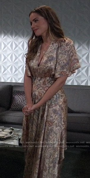 Sasha's paisley dress at Nina's wedding on General Hospital