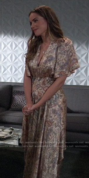 Sasha's paisley dress at Nina's wedding on General Hospital