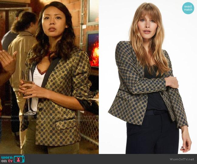 Scotch & Soda Gold Jacquard Blazer worn by Kamilla Hwang (Victoria Park) on The Flash