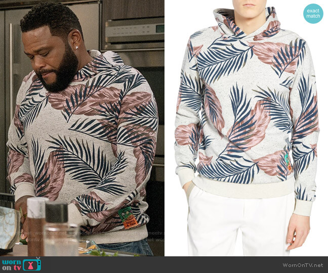 Scotch and Soda Leaf Print Hooded Sweatshirt worn by Andre Johnson (Anthony Anderson) on Blackish