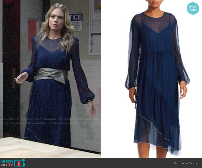 See by Chloe Asymmetric Sheer Silk Midi Dress worn by Abby Newman (Melissa Ordway) on The Young & the Restless