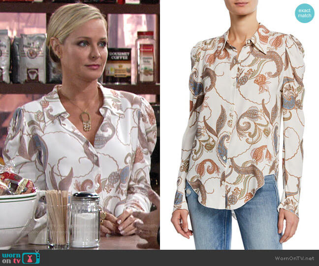 See by Chloe Paisley Silk Blouse worn by Sharon Collins (Sharon Case) on The Young & the Restless
