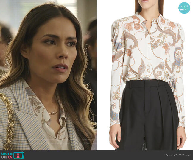 Paisley Puff Sleeve Blouse by See by Chloe worn by Cristal Jennings (Daniella Alonso) on Dynasty