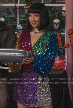 Mei's colorblock sequin wrap dress on Sunnyside