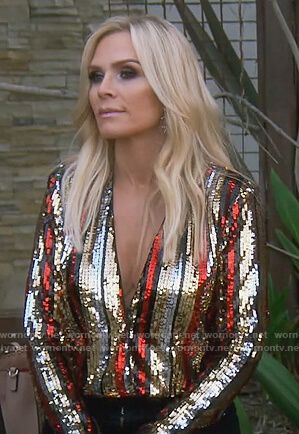 Tamra's sequin stripe wrap top on The Real Housewives of Orange County
