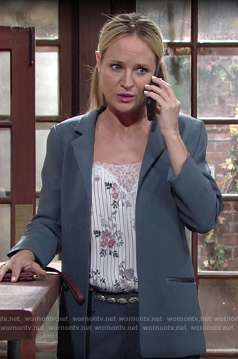 Sharon's floral top and blue suit on The Young and the Restless