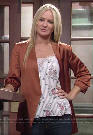 Sharon's floral cami and orange satin blazer on The Young and the Restless