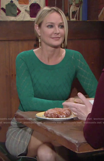 Sharon's green pointelle sweater on The Young and the Restless
