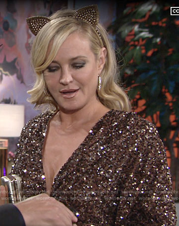 Sharon's sequin v-neck  mini dress on The Young and the Restless