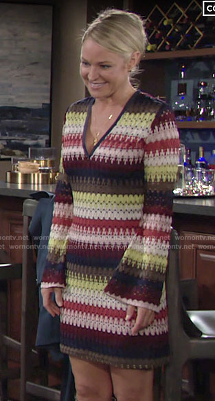 Sharon's multicolor stripe knit dress on The Young and the Restless