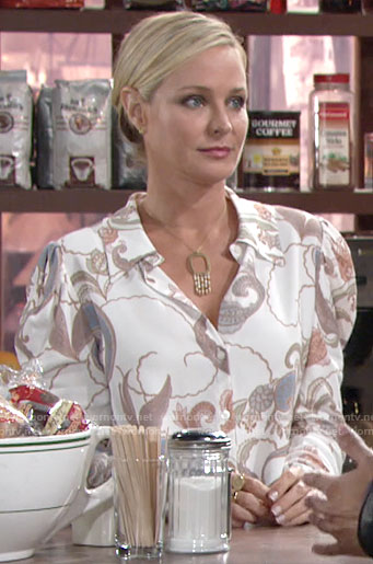 Sharon's white paisley print button down blouse on The Young and the Restless