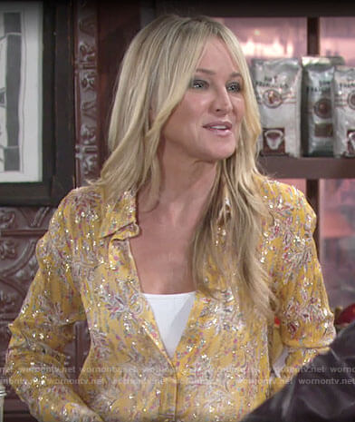 Sharon's yellow printed metallic shirt on The Young and the Restless