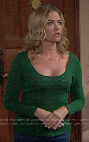 Shauna's green pointelle top on The Bold and the Beautiful