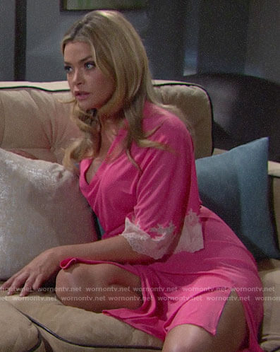 Shauna's pink lace-trim robe on The Bold and the Beautiful