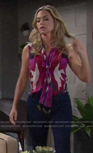 Shauna's pink printed tie neck top on The Bold and the Beautiful