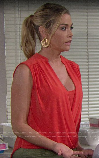 Shauna's red draped front top on The Bold and the Beautiful