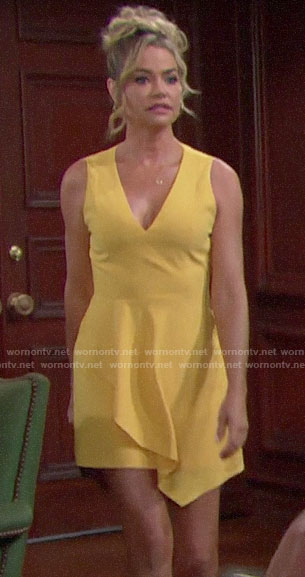Shauna's yellow v-neck mini dress on The Bold and the Beautiful