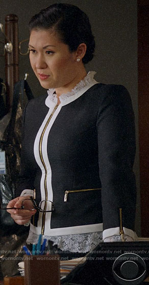 Sherri's lace trim jacket on All Rise
