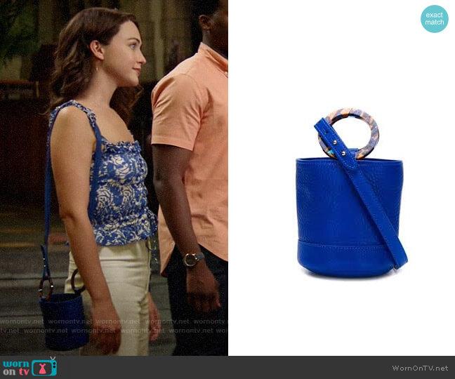 Simon Miller Mini Bonsai Bag worn by Cara Bloom (Violett Beane) on God Friended Me