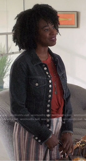 Simone's black denim jacket and striped linen pants on The Good Place