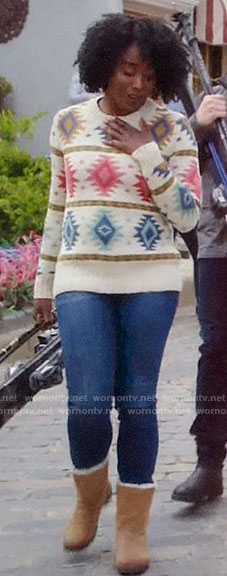 Simone's ski sweater on The Good Place