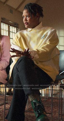Skye's yellow tie dye sweatshirt with daisy on The Politician