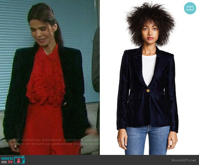 Smythe Velvet Peak Lapel Blazer worn by Hope Williams (Kristian Alfonso) on Days of our Lives