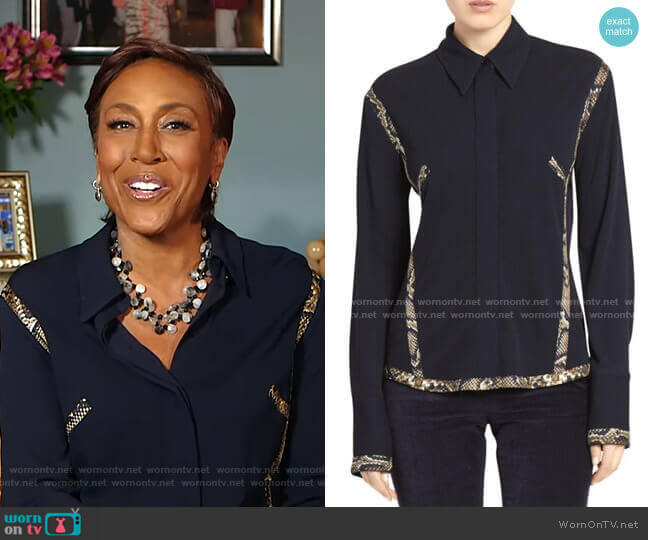 Snake-Print Contrast Collared Shirt by Victoria Beckham worn by Robin Roberts  on Good Morning America