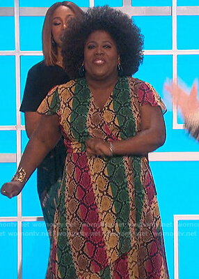 Sheryl's snakeskin print wrap dress on The Talk