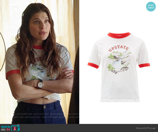 Solid & Striped x Re/Done The Upstate Cotton T-shirt worn by Rio (Lake Bell) on Bless This Mess