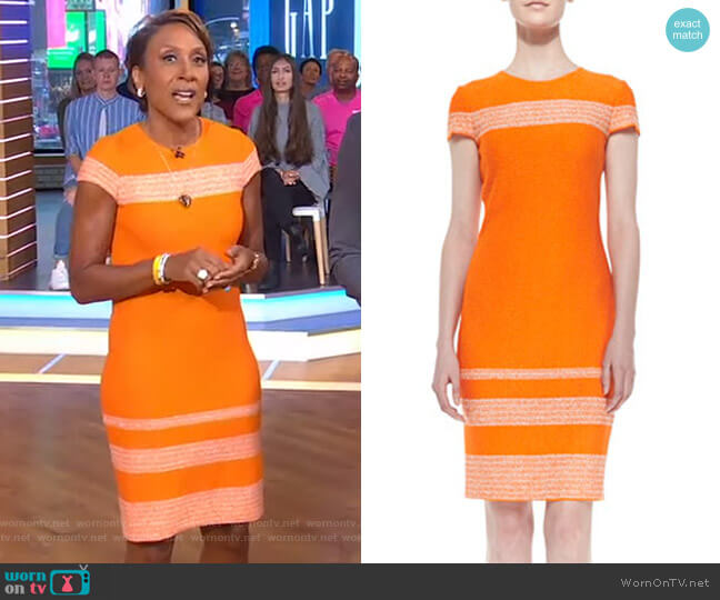 Micro Tweed Engineered Stripe Sheath Dress by St john worn by Robin Roberts  on Good Morning America