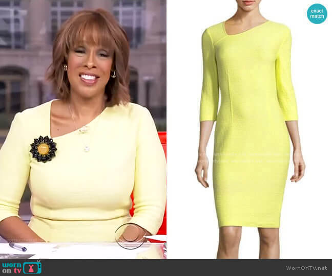 Hannah Knit Asymmetric Dress by St. John Collection worn by Gayle King  on CBS This Morning