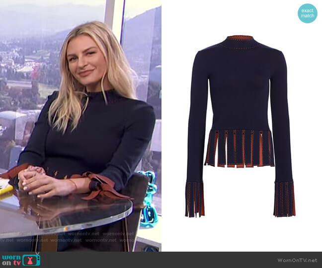 Mika Top by Staud worn by Morgan Stewart  on E! News