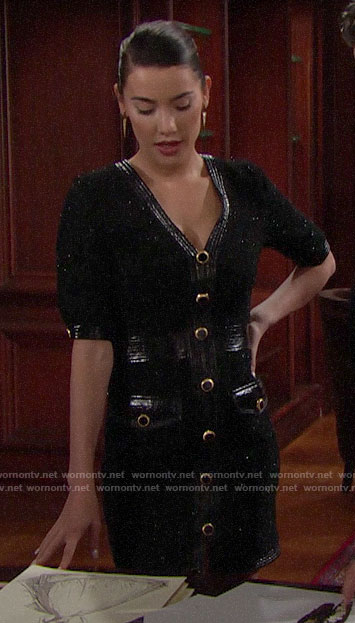 Steffy's black leather-trim button-front dress on The Bold and the Beautiful