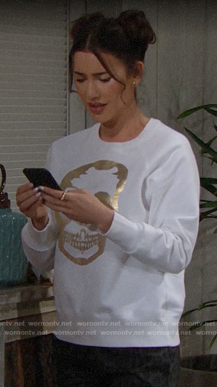 Steffy's white sweatshirt with gold skull on The Bold and the Beautiful
