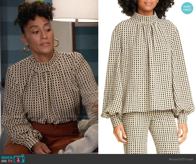Stine Goya Eddy Gingham Blouse worn by Rainbow Johnson (Tracee Ellis Ross) on Blackish