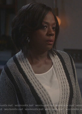 Annalise's gray fringe trim cardigan on How to Get Away with Murder