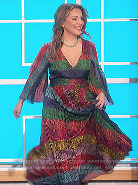 Alyssa Milano's striped snakeskin print maxi dress on The Talk