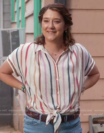 Nonnie's striped crinkled blouse on Insatiable