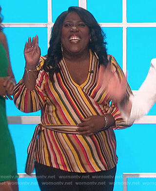 Sheryl's striped wrap top on The Talk