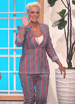 Brigitte Nielsen's stripe blazer and pants on The Talk