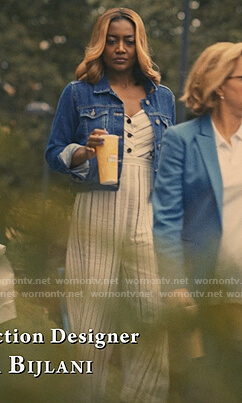 Daisy's stripe linen jumpsuit on Madam Secretary