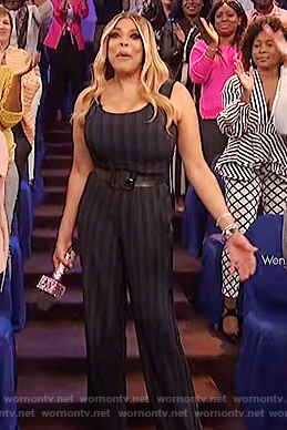 Wendy's navy striped jumpsuit on The Wendy Williams Show