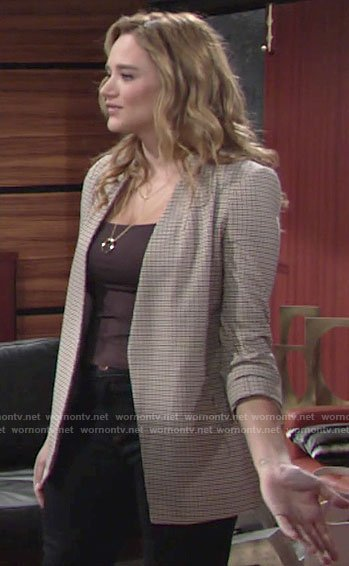 Summer's checked blazer on The Young and the Restless