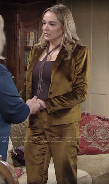 Summer's gold velvet blazer and pants on The Young and the Restless