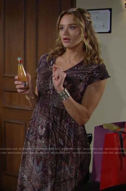 Summer's paisley midi dress on The Young and the Restless
